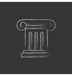Ancient column drawn in chalk icon vector