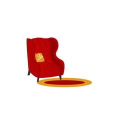 Armchair with woolen blanket or rug vector