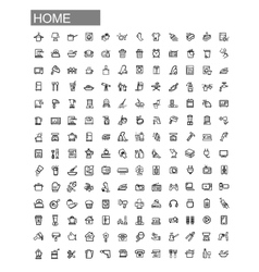 black home appliances icons set vector image vector image
