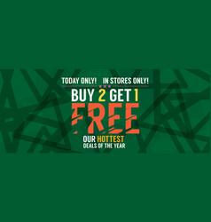 buy 2 get 1 free banner vector image vector image