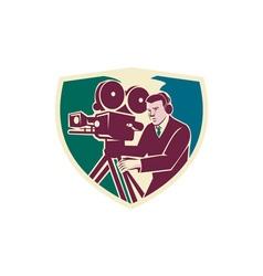 Cameraman moviemaker vintage camera shield vector