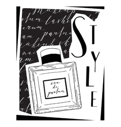 Card about cosmetics with the image parfume vector
