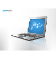 Computer laptop isolated with reflect vector