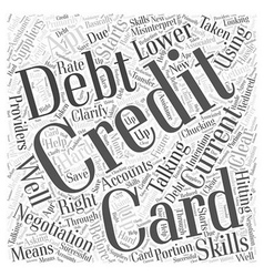 Credit card debt negotiation word cloud concept vector