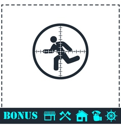 Crosshair icon flat vector
