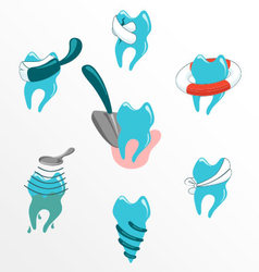 Dental problems and treatment icon set vector