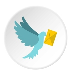 Dove with letter icon flat style vector
