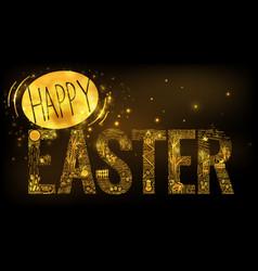 Easter linear style banner dark vector