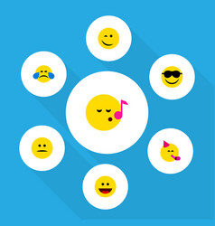 Flat icon face set of cold sweat party time vector