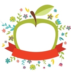 Fresh spring flowers around an green apple vector