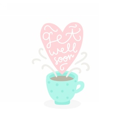 Get well soon cup with hot tea vector