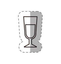 Glass cup beverage line vector