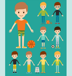 Group of young kid portrait friendship man vector