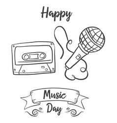 Hand draw music day card doodle style vector