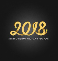 Happy new year 2018 and merry christmas monogram vector