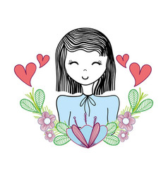 Happy woman with flowers and hearts vector