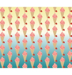 Ice cream and strawberries background vector