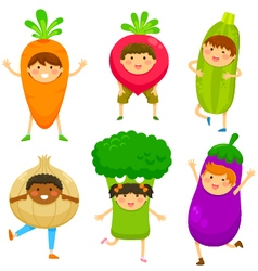 kids dressed like vegetables vector image vector image