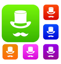 magic black hat and mustache set collection vector image