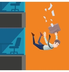 Man in office wear falls from a building vector