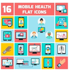 Mobile health icons set vector