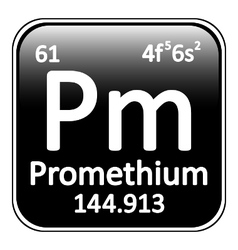 Periodic table element promethium icon vector
