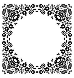 Polish floral folk black embroidery frame pattern vector