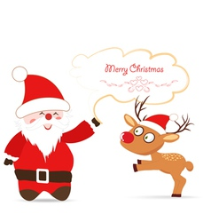 Santa claus and deer greeting card vector