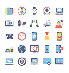 seo and marketing flat colored icons 2 vector image vector image