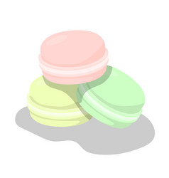 set of colorful macarons on white background vector image