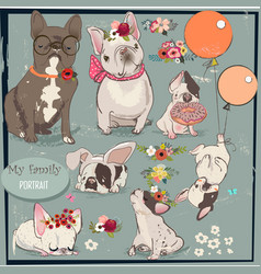 set with cute bulldogs family vector image