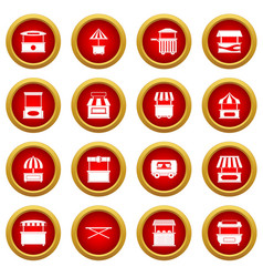 Street food truck icon red circle set vector