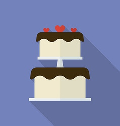 Wedding cake or festive cake flat style icon vector