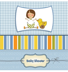 welcome baby card with girl and and her duck vector image vector image