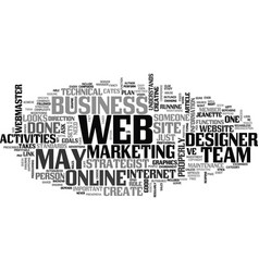Who s on your web team text word cloud concept vector