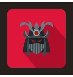 Japanese samurai mask icon flat style vector image