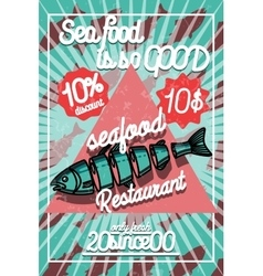 Color vintage seafood restaurant poster vector