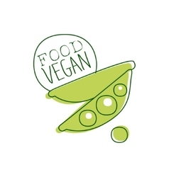 Fresh vegan food promotional sign with green peas vector