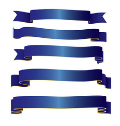 Blue ribbons collection vector
