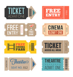 Vintage tickets in different style vector