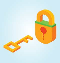 Key and padlock vector image