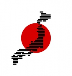 map and flag of japan vector image