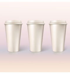 Disposable cups for coffee closeup vector