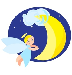 Angel and moon vector