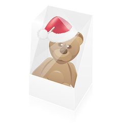 New year packing box with toy bear vector