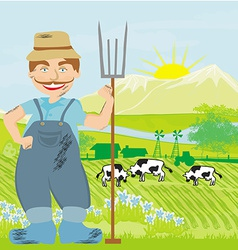 Man working in green meadow vector