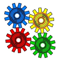 Colors gears on white background vector image