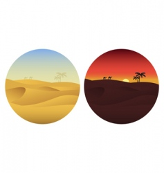 Day and night in desert vector