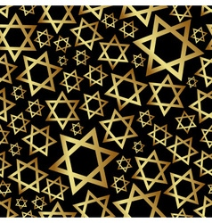Gold star of david dark religion seamless pattern vector