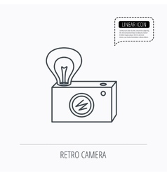 Retro photo camera icon photographer equipment vector